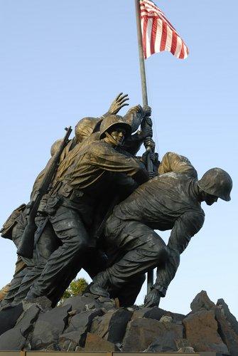Iwo Jima Memorial, dedicated to marines, located in Arlington, Virginia.