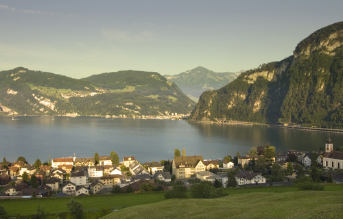 Picture of Lake Lucerne - A town on Lake Lucerne.