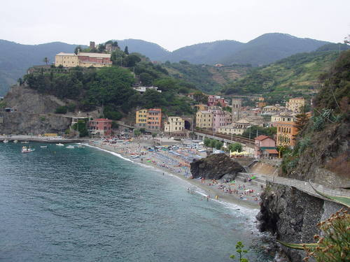 Beach and town of Monterosso al Mare.