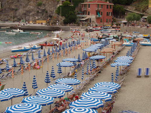 Beach umbrellas at Monterosso al Mare.