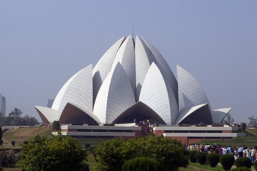 The flower-like architecture of the Bahai Temple (Lotus Temple) in Delhi.