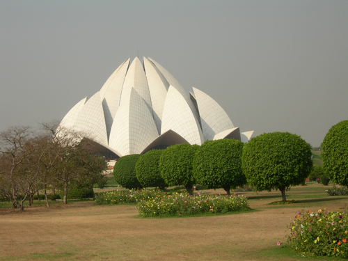 The Bahai House of Worship or Lotus Temple in Delhi.