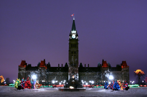 Picture of Parliament Buildings, Ottawa - Christmas lights at the ...
