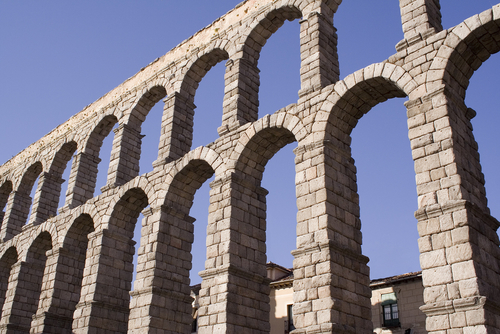 Picture of Roman Aqueduct, Segovia - The Roman aqueduct in Segovia.