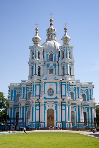 The blue and white Smolny Cathedral in Saint Petersburg.