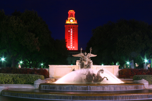 Night view of the tower at the university of texas in austin