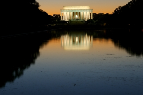 Lincoln Memorial. Lincoln Memorial at sunset,