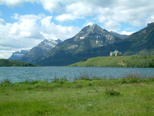 View to the Prince of Whales Hotel in Waterton National Park.