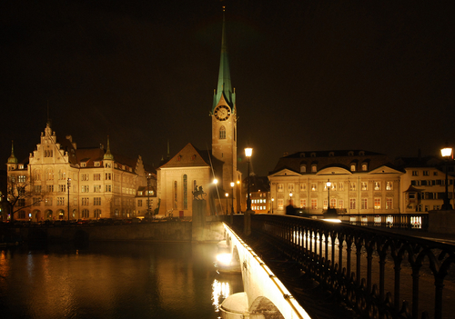 View of Zurich at night.
