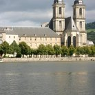 Picture - Swan on the River Moselle in front of the Abbey of the Premontres in Pont du Mousson.