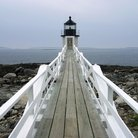 Picture - Boardwalk and lighthouse at Acadia National Park.