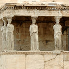 Picture - Female statues serve as columns on Porch of the Caryatids on the Acropolis, Athens.