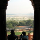 Picture - Distant view to the Taj Mahal as seen from the Red Fort in Agra.