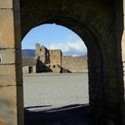 Picture - Ainsa Castle seen through a doorway.