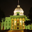 Picture - Night view of the Alabama State Capitol building in Montgomery.