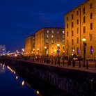Picture - Night view of the promenade at Albert Dock, Liverpool.