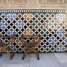 Picture - Chairs in the Patio de Comares Palacios Nazaries, Alhambra Palace Granada.