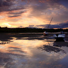 Picture - Low tide at Sunset Alnmouth Estuary.
