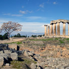 Picture - Agora and columns of Temple of Apollo in Ancient Corinth.