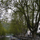 Picture - Boats anchored along the canal at Annecy.