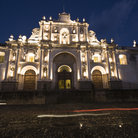 Picture - A night time view of the Cathedral in La Antigua Guatemala.