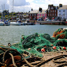 Picture - Fishing nets at Arboarth harbor.