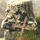 Picture - Iron cross and remains of the Roman Empire at Argiroupolis (Lappa) village, Crete.