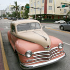 Picture - Old car in the Art Deco district of Miami Beach.
