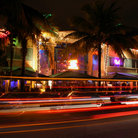 Picture - The Art Deco district of Miami Beach, at night.