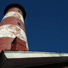 Picture - The old red and white Assateague Lighthouse.