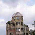 Picture - Ruined dome of a former bank, now a memorial at ground zero where the A-Bomb fell in Hiroshima.