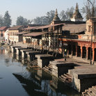 Picture - The Cremation Vats along the holy Bagmati River at Pashupatinath in Kathmandu.