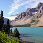 Picture - Mountains and Bow Lake in Banff National Park.