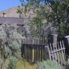 Picture - Old fence at building at Bannack State Historic Park.