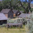 Picture - Historic buildings in the Bannack State Historic Park.