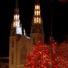 Picture - Christmas lights in front of the Notre Dame Basilica in Ottawa.