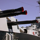 Picture - Anti-aircraft guns aboard the USS Massachusetts in Battleship Cove.