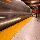 Picture - A train at the Embarcadero Subway Station in San Francisco.