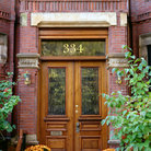 Picture - Wooden double doorway in Beacon Hill, Boston.