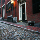 Picture - Cobblestone Acorn Street in Beacon Hill District.