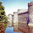Picture - The moat and fortifications at Beaumaris Castle.