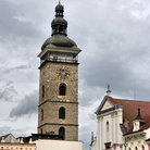 Picture - Clouds rolling past the Black Tower in Ceske Budejovice.