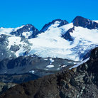 Picture - The snow covered peaks on Blackcomb Mountain.