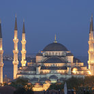 Picture - The Blue Mosque (Sultan Ahmed camii) at night in Istanbul.