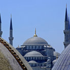 Picture - A unique view of the Blue Mosque in Istanbul.