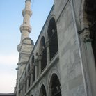 Picture - side view of the minaret of the Blue Mosque in Istanbul.