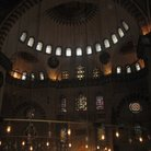 Picture - The interior of the Blue Mosque at night in Istanbul.