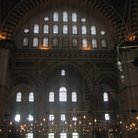 Picture - Lighted prayer area of the Blue Mosque in Istanbul.