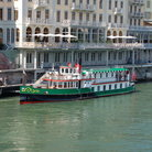 Picture - A boat on the Rhine River at Basel.