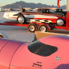 Picture - Vehicles getting ready at Bonneville Salt Flats, Utah.